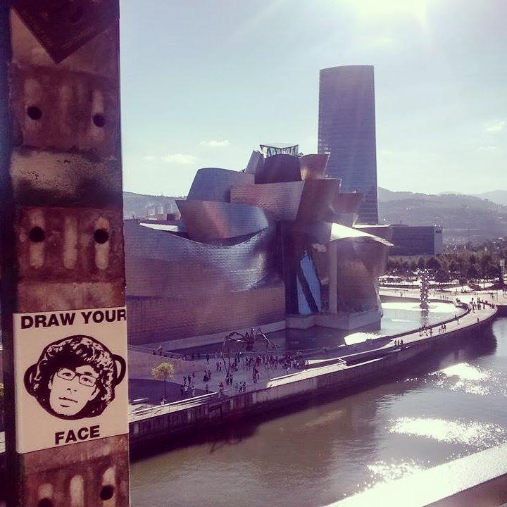 Peipegata sticker slap stickerart  bombardeando Bilbao-España