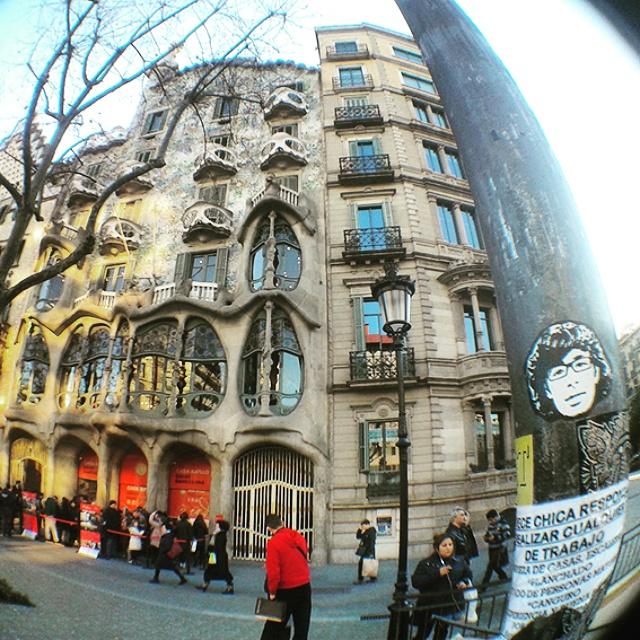 Peipegata sticker slap stickerart  bombardeando Barcelona- España